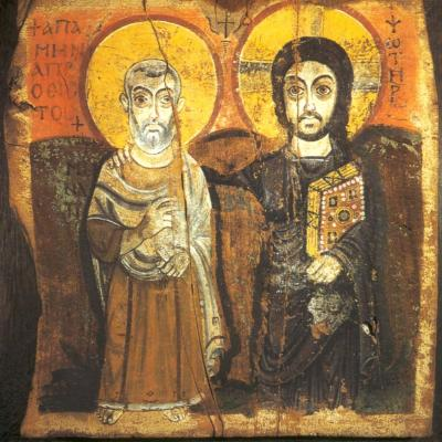 Christ and his friend icon